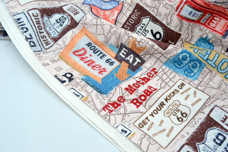 Brother Sister Fabric Route 66 Road Map Upholstery By the Half Yard