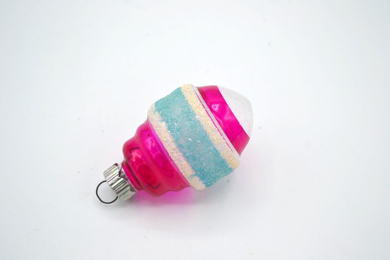 Shiny Brite Barrel Lantern with Pink and Blue Mica Stripes Feather Tree Size Vintage Glass Christmas Ornament