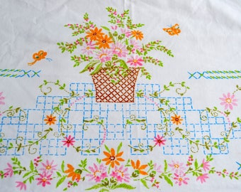 Vintage Bed Sheet - Flower Basket and Butterfly Design - Pepperell Twin Flat