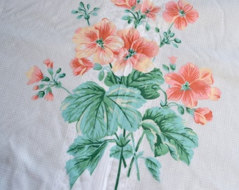 Vintage Bed Sheet - Wamsutta Coral Flowers and  Green Leaves - Twin Fitted NOS
