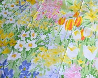 Vintage Bed Sheet - Wamsutta Springtime Flower Garden - Twin Flat NOS