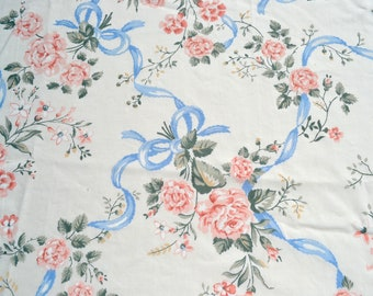Vintage Bed Sheet - Pink Roses and Blue Ribbons - Choose Twin Fitted or Full Flat NOS