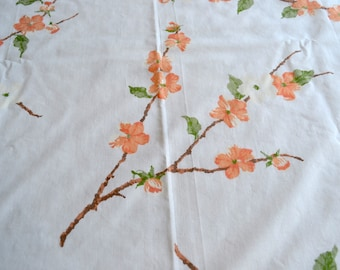 Vintage Bed Sheet - Coral and White Tree Blossoms - Twin Flat