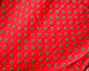 Vintage Christmas Fabric - Petite Holly and Berries on Red - Cranston VIP Cotton - By the Half Yard