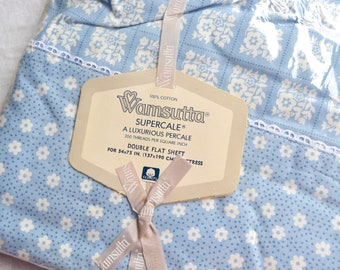 Vintage Bed Sheet - All Cotton Blue and White Floral Squares - Wamsutta Full NOS