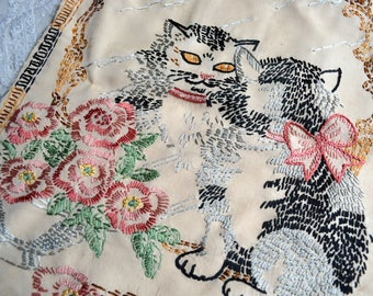 Vintage Antique Embroidered Panel for Framing - Cat Looking in Mirror Pink Roses