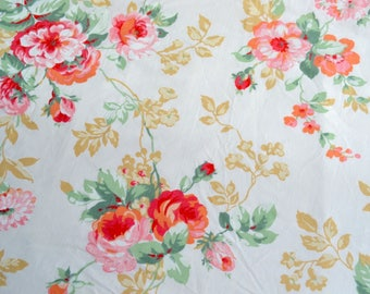 Vintage Bed Sheet - Coral Red Orange Roses - Penneys Full Fitted NOS