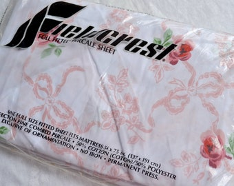 Vintage Bed Sheet - Fieldcrest Pink Roses and Ribbons - Full Fitted NOS