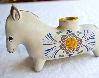 Vintage Mexican Ceramic Donkey Candle Holder
