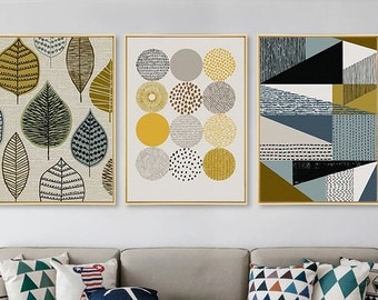Home Decor Prints Set,Abstract Geometric Canvas Posters,Living Room Wall Art ,Living Room Pictures Set,Modern Living Room Artwork