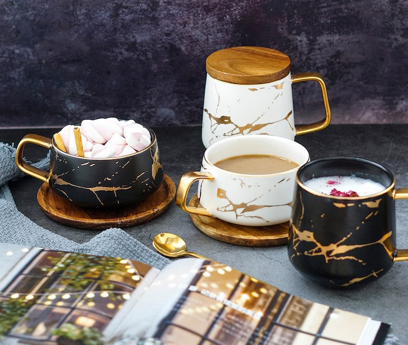 Decorative Ceramic Coffee Mugs For Serving White Black Wood Tea Coffee Cups Decorative Ceramic Coffee Mugs Decorative Kitchen Drinkware