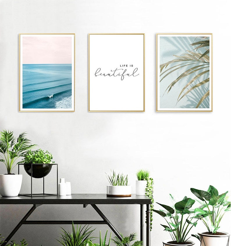 Life Is Beautiful Wall Art,Nature Home Decor Posters Set,Nature Living Room  Wall Art,Ocean Canvas Posters,Modern Living Room Artwork