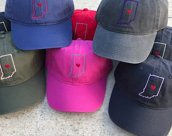 wholesale dealer 135aa 87239 State Monogram with Heart Baseball Hat, State Outline Cap, Baseball Cap, Indiana  State Home Comfort Color Hat