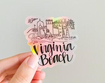 Virginia Beach Virginia holographic Skyline sticker