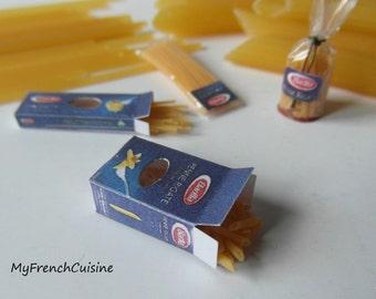 Spilled penne rigate box - Handmade miniature food