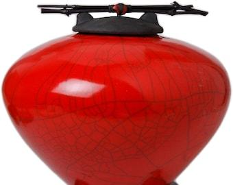 Raku Ceramic  Cremation Urn for ashes standard size