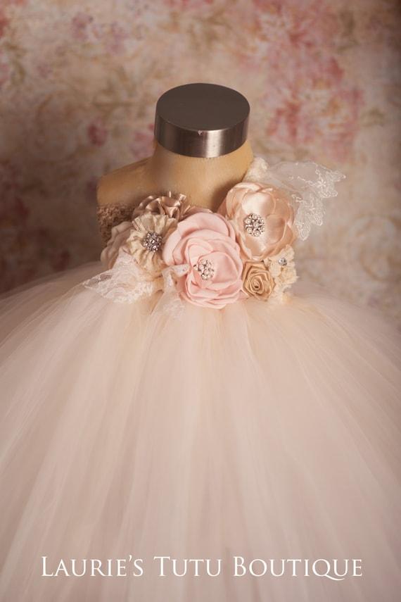 Blush and Champagne Tutu Dress Blush Flower Girl Dress