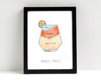 Aperol Spritz Cocktail Diagram Art