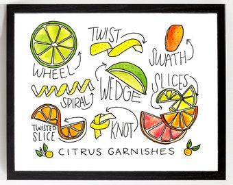 Kitchen Art - Citrus Garnishes for Cocktails Print