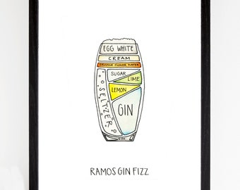 Ramos Gin Fizz - Cocktail Diagram Watercolor Art Print