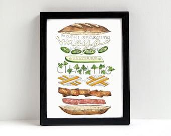 Banh Mi Sandwich Print of Original Watercolor