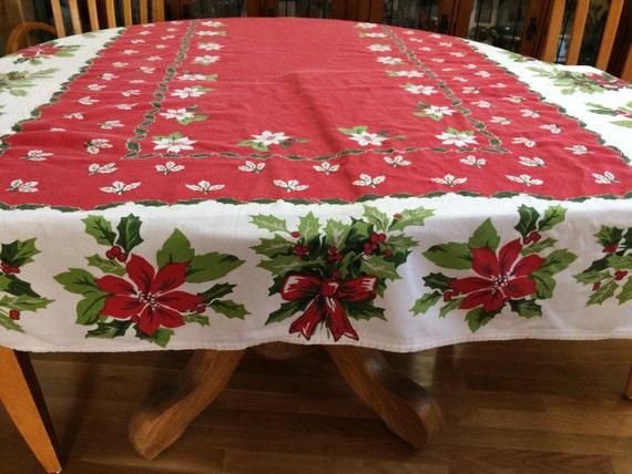 Merveilleux Lovely Vintage Poinsettia Tablecloth   Etsy