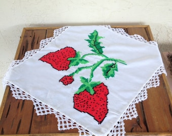 Vintage Embroidered Strawberry Doily