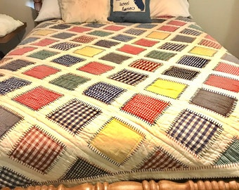 Vintage Diamond Patchwork Quilt -Hand Quilted