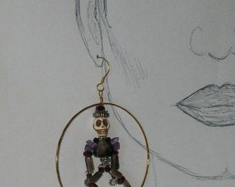 3 in. Gothic Hoops, Amethyst, Skeleton, Day of the Dead, Gemstone Hoops, Birthstone Earrings