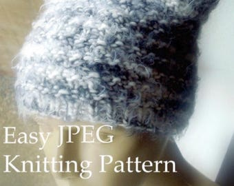 Beanie Knitting Pattern Easy DIY Hat Tutorial Kawaii Ears Knit Easy Circular Knitting - Pussy Hat Project - Sell What You Make - Download
