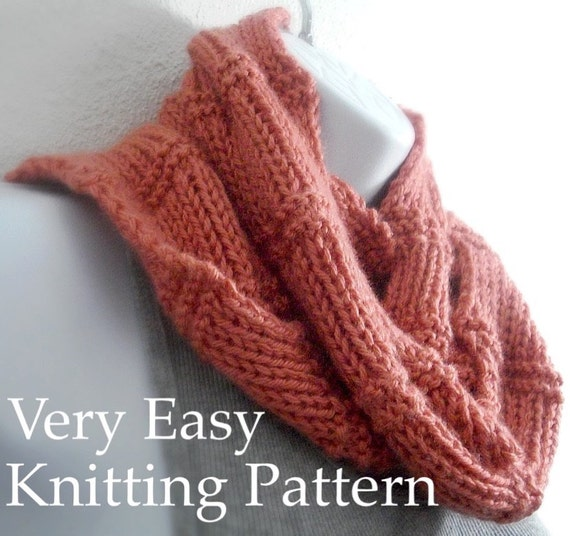 Knitting Pattern Scarf Pattern Beginner Tutorial Easy Knit Etsy