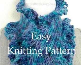 Easy Ruffle Edge Scarf Tutorial Knitting Pattern Scarflett Pattern Beginner Knitting Little Ruffles Scarf Sell What You Make - PDF Printable