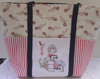 Day of the Week Quilters Tote / QTM / Vintage Sewing Theme Market Bag