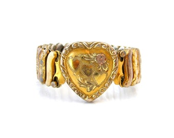 Vintage 1940s CO-STAR Sweetheart Heart Expansion Bracelet, Signed Sterling Base, 40s Costume Jewelry