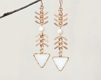 White Cloud Chevron Chain Earrings - Fish Spine Chain Summer White Dangle Earrings - Gold Filled by Prairieoats
