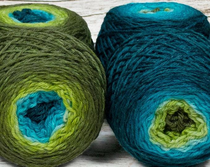"""Sock Twins """" Mermaiden's Tale """" - Lleaf Handpainted Gradient Sock Yarn Set"""