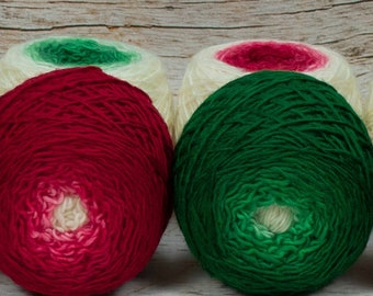 "Colorwork Set "" Holly King "" - Llift Handpainted Gradient Single Ply Yarn"