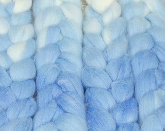 Snow Queen / Lleaf Handpainted SW Merino-Bamboo-Nylon Combed Top/ 4 oz.