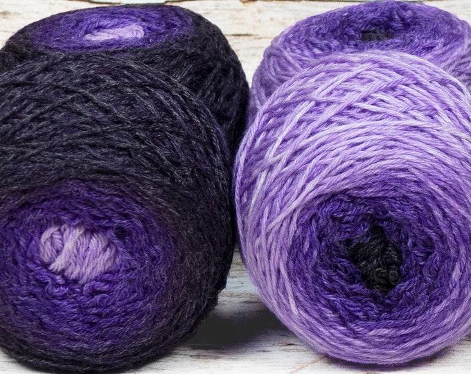 "Sock Twins "" Lavendula "" - Lleaf Handpainted Gradient Sock Yarn Set"