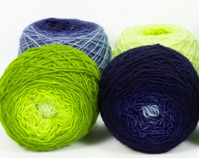"Colorwork Set "" Will-O'-The-Wisp "" - Llift Handpainted Gradient Single Ply Yarn Fingering Weight"