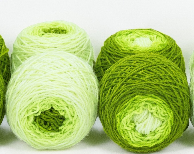 "Shorty Sock Twins "" Phosphorescence "" - Lleap Handpainted Semisolid Gradient Sock Yarn Set"