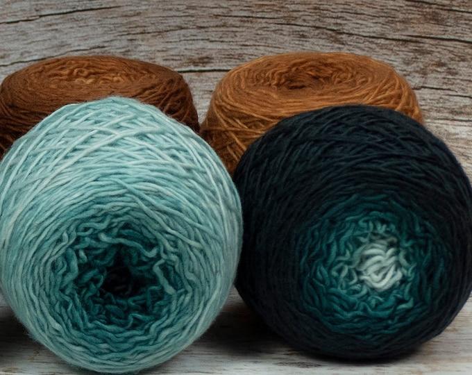 "Colorwork Set "" Pennies From Heaven "" - Llift Handpainted Gradient Single Ply Yarn"