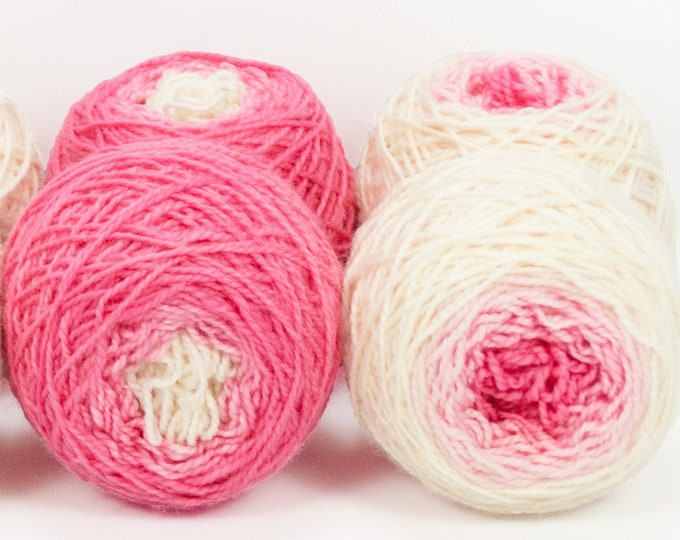 "Shorty Sock Twins "" Clara's Dress "" - Lleap Handpainted Semisolid Gradient Sock Yarn Set"