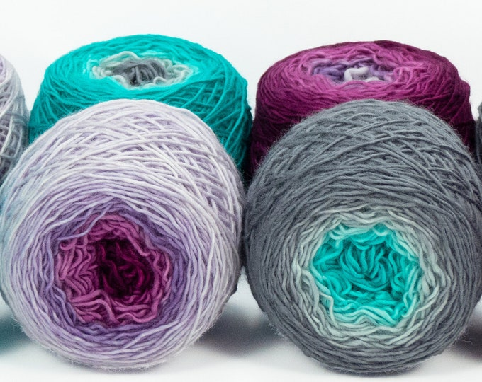 "Colorwork Set "" Dancing In The Moonlight "" - Llift Handpainted Gradient Single Ply Yarn Fingering Weight"