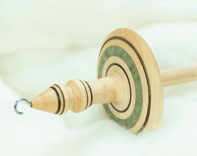 Lleto Hand-Turned Maple / Green Aventurine Drop Spindle - Top Whorl 43 Grams