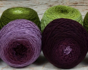 "Colorwork Set "" Fruit Of The Vine "" - Llift Handpainted Gradient Single Ply Yarn"