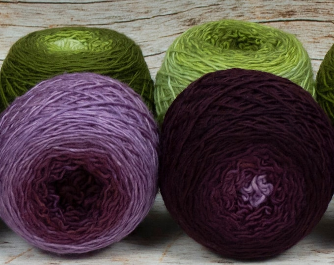 "Colorwork Set "" Fruit Of The Vine "" - Llift Handpainted Gradient Single Ply Yarn Fingering Weight"