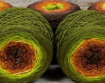 "Full "" Green Man "" - Lleaf Handpainted Gradient Fingering Weight Yarn"
