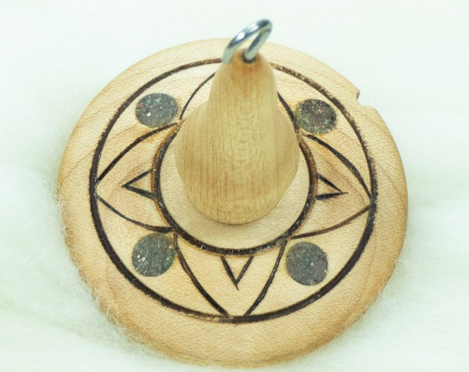 Lluna Hand-Turned Maple Wood / Mixed Gemstone / Pyrograph Drop Spindle Medium Light -Top Whorl 23 Grams