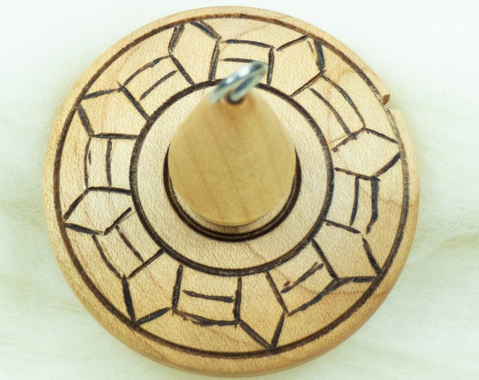 Lluna Hand-Turned Maple / Pyrograph Drop Spindle-Top Whorl 24 Grams